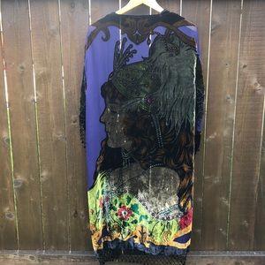 Pat Dahnke Silk Velvet Beaded Long Cardigan